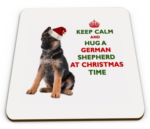 Christmas Keep Calm And Hug A German Shepherd Novelty Glossy Mug Coaster